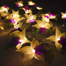 Purple Orchid Flower Battery Operated LED String Fairy Lights By Flowerglow