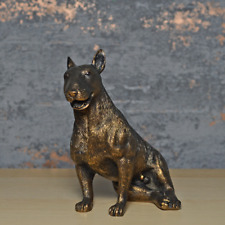 More details for bronze effect bull terrier statue dog sculpture figure ornament dogs collection