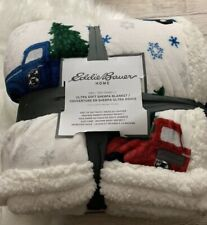 New Eddie Bauer Christmas Trees Cars Ultra Soft Sherpa Blanket King 90� x 108�