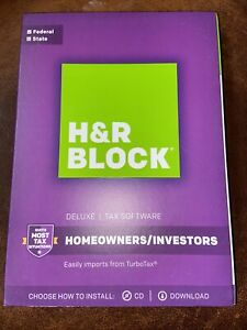 2017 H&R Block DELUXE turbo Federal & State Tax Factory Sealed New