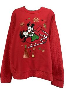 Disney Store Mickey & Minnie Mouse Sleigh Holiday Red Sweater Women's 2XL