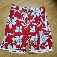 Abercrombie Rojo Floral Poliéster Shorts de Playa Tamaño 34 A64-14