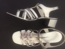 Vintage Shoes 1960s Dance Silver Strappy Sandals Sturdy Block Heel 7.5