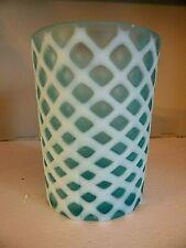Antique Glass TUMBLER Diamond CUT VELVET Lattice AIR TRAP Blue Opalescent