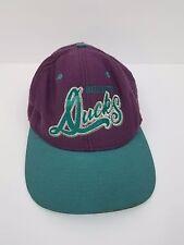 Vintage Mighty ducks purple green hat baseball snapback nutmeg 90s cursive retro