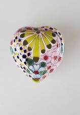 HAND MADE AND PAINTED - GLAZED TERRACOTTA - HEART SHAPED TRINKET BOX (Green)