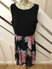 M&Co Womens Black With Floral Chiffon Dress Party Size 16 UK Petite