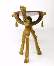 Vintage Hand Carved Wood Camel Heads Egyptian Folding Plant Stand Table