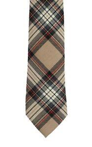 Camel Stewart Tartan Tie in Modern Width  - Made in the UK (6-W109/32)