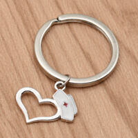 Nurse Cap Prayer Heart Keyring Silver Medical Physicians Keychain Women Jewelry