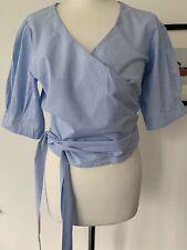 Paul & Joe Light Blue & White Striped Cotton Short Sleeve Wrap Blouse. Size 4/L