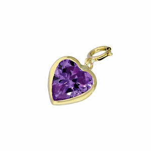 9ct Gold & Amethyst CZ Heart Clip on Charm Love Hearts 375 Charms Valentines