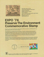 #1527 USPS Souvenir Page Expo 74 Peter Max designed Preserve Environment Stamp