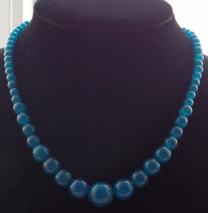 """Beautiful Natural 6-14mm apatite Round Beads gems Necklace 18""""AA"""