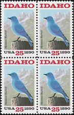 USA**IDAHO Statehood-BLOCK 4 stamps-MOUNTAIN BLUEBIRD-1990-VOGEL-OISEAU