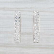 0.55ctw Pave Diamond Hoop Earrings Platinum Hinged Snap Top Pierced Oval Hoops