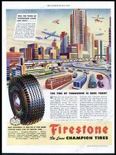 1945 streamlined future train car bus blimp plane city art Firestone print ad