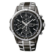 New Seiko SSC143 Solar Chrono Black Dial Black IP Stainless Steel Men's Watch