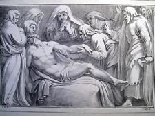 DEPOSIZIONE,PIETà,CRISTO,MADONNA,PILOTY,STAMPA ANTICA,LITOGRAPHY,LITOFRAGIA,1800