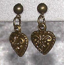 1 Pair Studs Hearts Heart Love Colour Antique Bronze Earring Ear Jewelry