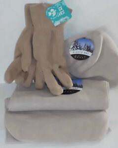 Gold Metal Matching Set 1 Fleece Pair Of Gloves 1 Scarf & 1 Hat TAN SZ Medium