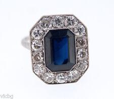 c.1900 Edwardian Antique Natural Burma Sapphire Diamond Ring in Platinum