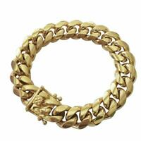 Men's Miami Cuban Link Bracelet HEAVY 14K 18K Gold Plated Solid Stainless Steel