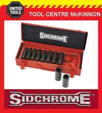 "SIDCHROME XS410MLT 10pce METRIC 1/2"" DRIVE DEEP IMPACT SOCKET SET IN METAL CASE"