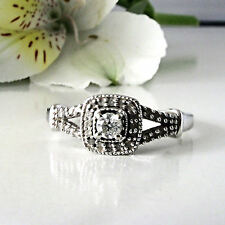10k White Gold 1/5 cttw Diamond Split Band Engagement Ring Size 7