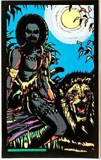 Vintage 1970's Velvet Blacklight Cat Man African Warrior Poster