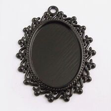 12pcs Atq Style Black Tone Alloy Lace Oval Cameo Setting Inner Size 25*18MM New