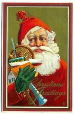 vintage christmas postcard santa with handful of toys embossed 1915