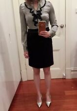 Office Lady Blouse Skirt Dress Silky Striped Flares long sleeve Business Shirt M