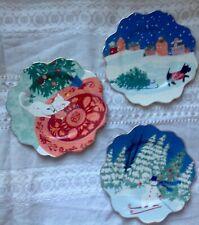 Anthropologie Emily Isabella Holiday Spirit Dessert Plates SOLD OUT Set of 3