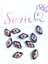 10 Blue Cloisonne Beads Handmade 15*9mm Diamond Shape Flower Design Enamel Metal