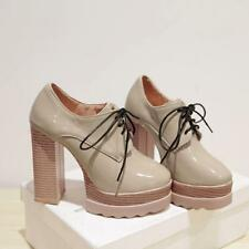 British Style Womens Round Toe Lace Up Platform High Chunky Heels Office Shoes