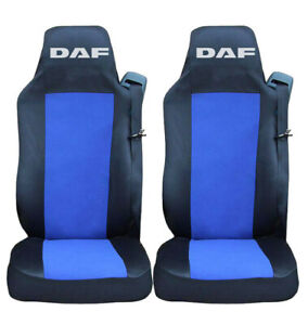 PAIR Seat Covers Black BLUE for DAF CF XF 106 EURO 6 Truck Tailored Lorry RHD