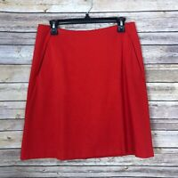 CAbi Womens 6 Fiery A Line Skirt Pockets Stretch Solid Red Back Zipper Career