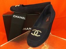 17P NIB CHANEL NAVY SUEDE SILVER CHAIN CC LOGO LOAFERS FLATS 41 $825 ITALY