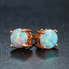 White Fire Natural Opal Stud Earrings Rose Gold 6mm Round Earring studs