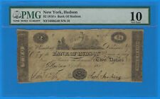 1810's Bank of Hudson New York $2 Obsolete Note NY-1050 G48 PMG 10 Very Good