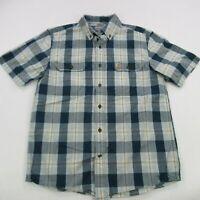Carhartt Mens Short Sleeve Button Front Shirt Medium Checks Work Wear Pockets