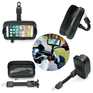 Motorcycle GPS Waterproof Cell Phone Case Bag Rearview Mirror Mount Holder Stand
