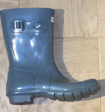 HUNTER Graphite Original Short Gloss Rain Boots Shoes Size US 7 UK 5 EU 38
