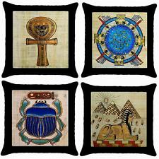 NEW SET OF 4 PILLOW CASE CUSHION COVERS EGYPTIAN ART