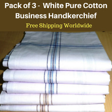3 White Mens Business Handkerchiefs100% Pure Cotton Hankies Large 45x45CM Hanky