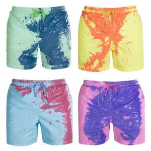 Men's Swim Shorts Color Changing Swimming Trunks Beach Board Shorts Swimwear