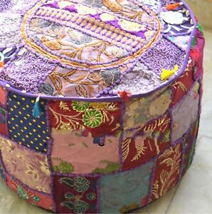 Indien Round Ottoman Pouf Cover Embroidered Patchwork Ethnic Floral