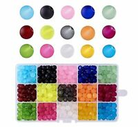 1Box 15 Color Transparent Glass Beads Frosted Dyed Round Mixed Color Craft Sets