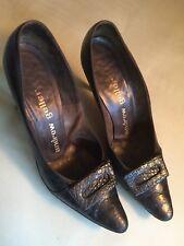 Andrew Geller Auth 60's Black Alligator Price Drop High Heel Shoes Sz6.5 Org Box